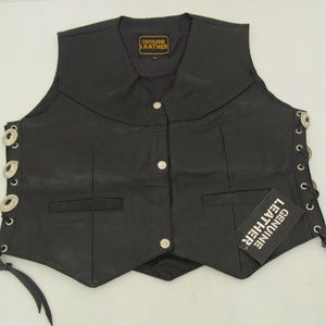 Other - Mens Goat Leather Motorcycle Vest Silver Buttons